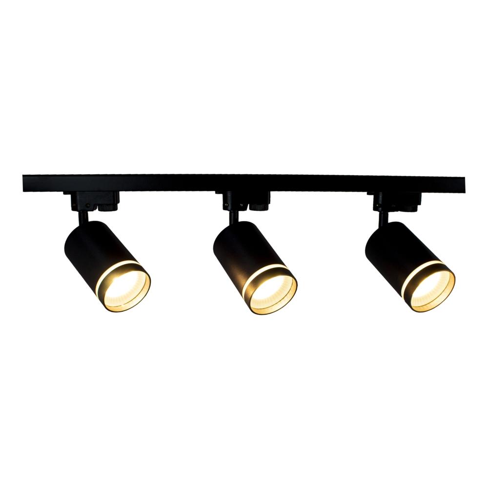 1-fase rails met 3x railspots zwart met witte ring - GU10 fitting - Dimbaar - kantelbaar - vooraanzicht