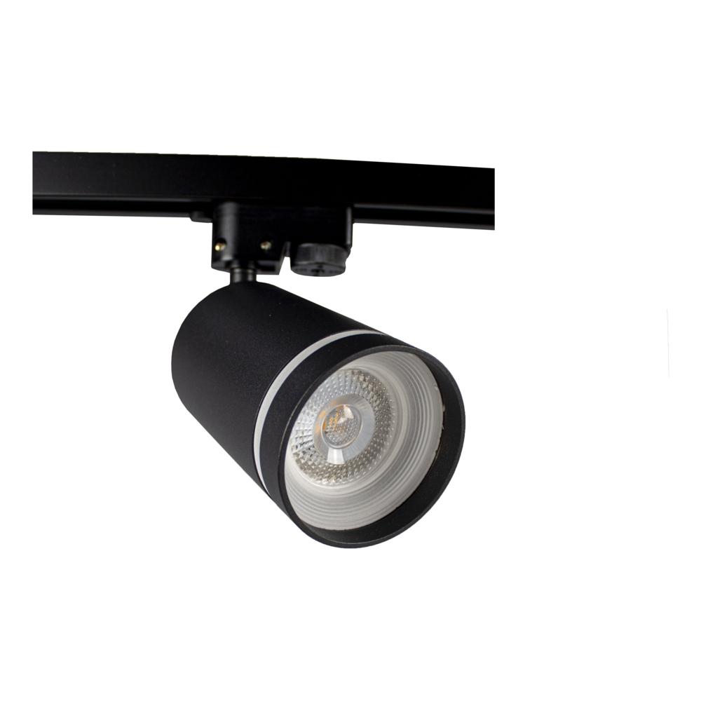 1-fase railspot zwart met witte ring - GU10 fitting - Dimbaar - kantelbaar -