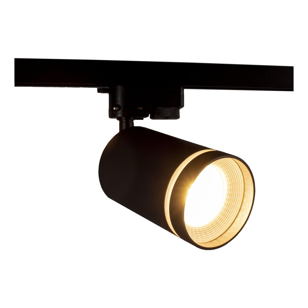 1-fase railspot zwart met witte ring - GU10 fitting - Dimbaar - kantelbaar - warm wit