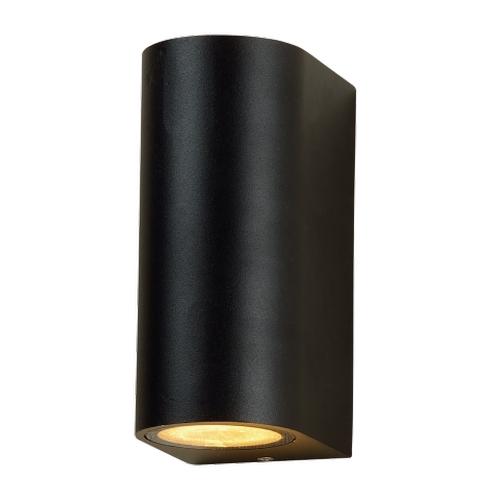 LED ronde Wandlamp voor buiten Up & Down zwart 2x GU10 fitting