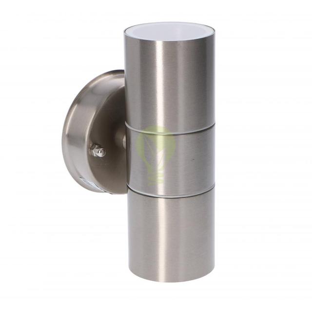 LED wandlamp - met gu10 fitting - IP44 - geschikt voor 2 GU10 spots aluminium - zijaanzicht