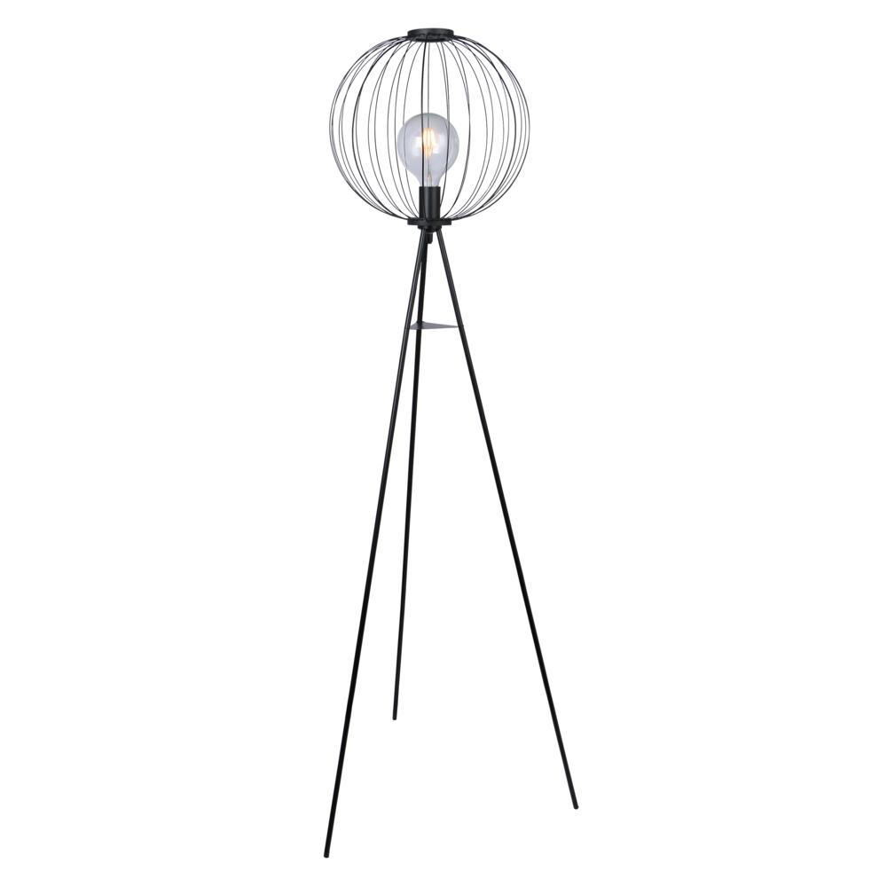 Led Moderne vloerlamp metaal E27 fitting - vooraanzicht lamp aan