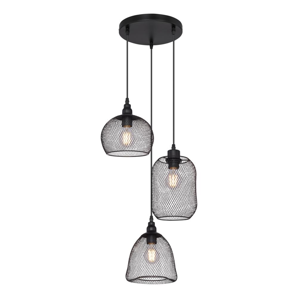 Industriële hanglamp zwart - 3-voudig - dimbaar - E27 fitting - 3x diverse lampenkap metaal