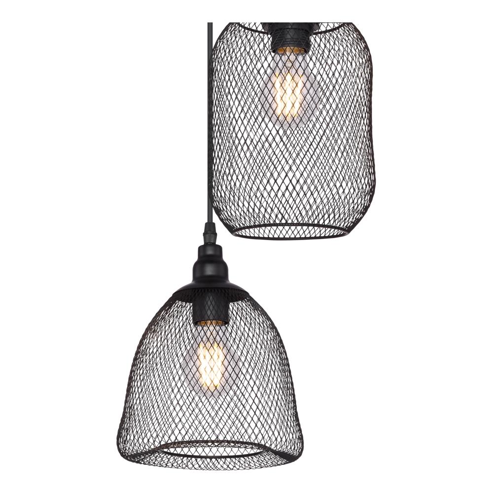 Industriële hanglamp zwart - 3-voudig - dimbaar - E27 fitting - 3x diverse lampenkap metaal - close up