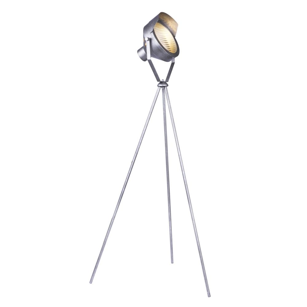 LED staande lamp E27 fitting grijs metaal - zijaanzicht lamp aan