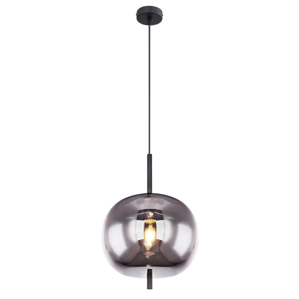 Moderne glazen hanglamp gerookt E27 fitting - vooraanzicht lamp aan