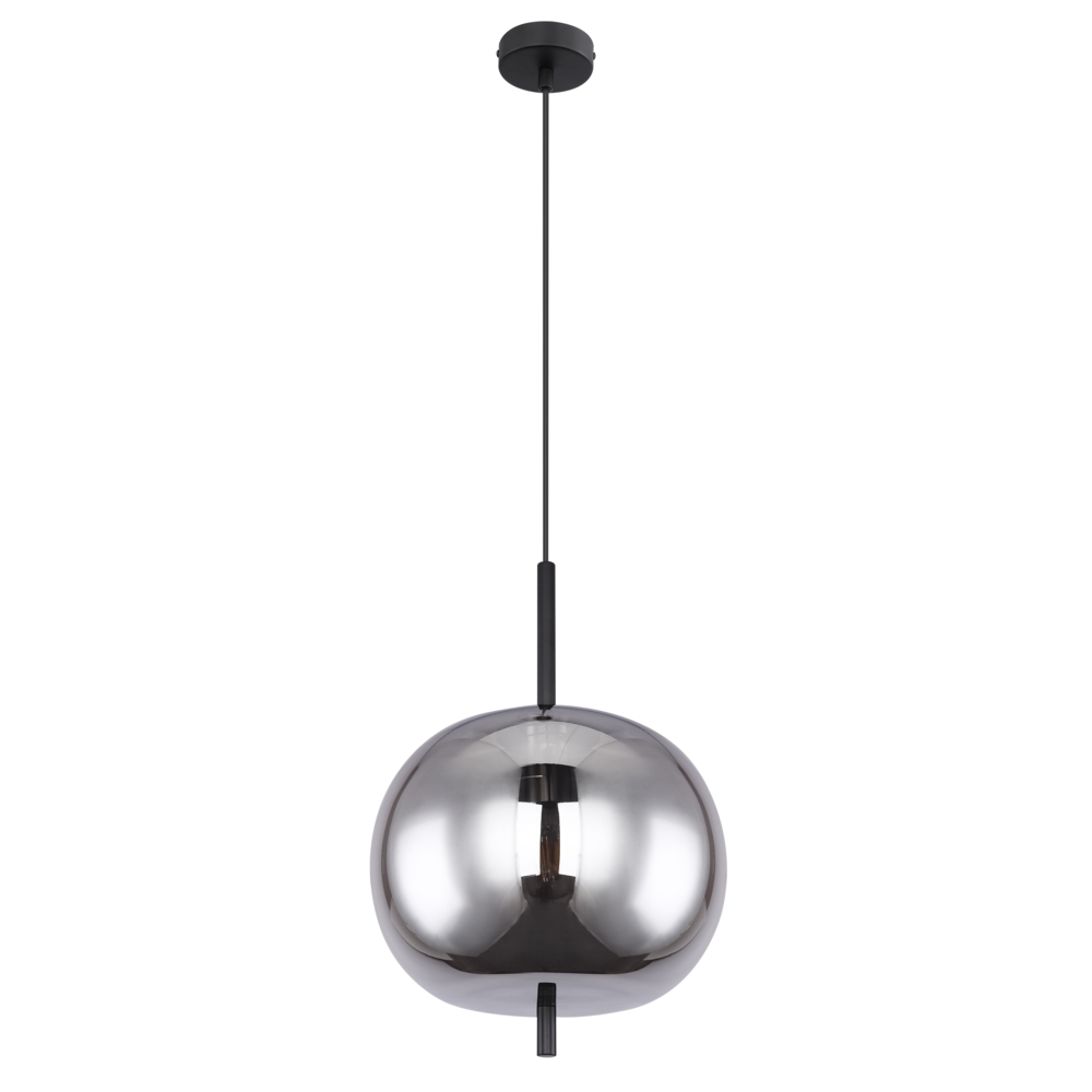 Moderne glazen hanglamp gerookt E27 fitting - vooraanzicht lamp uit