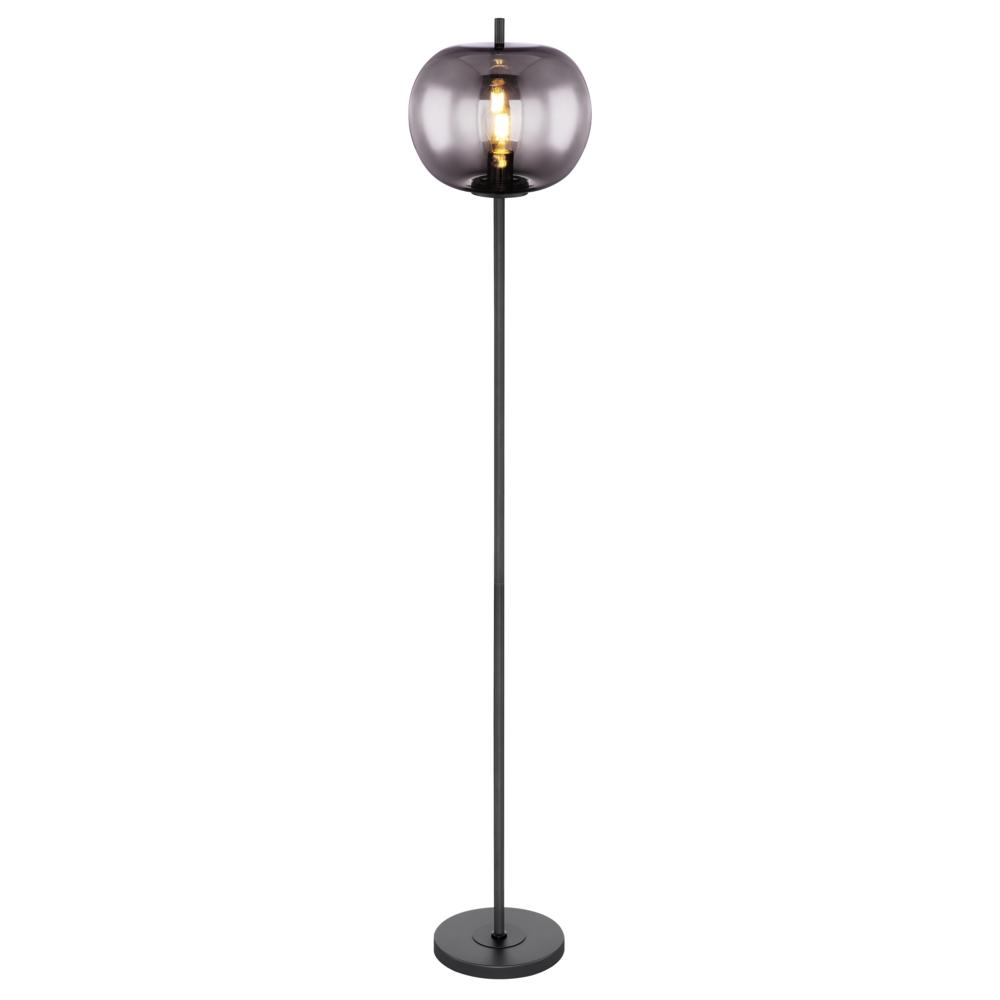 LED glazen vloerlamp smoked glass E27 fitting - vooraanzicht lamp aan
