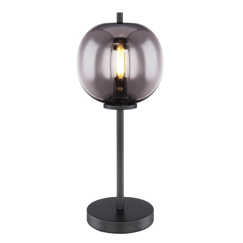 LED Moderne Tafellamp smoke glas E27 fitting - vooraanzicht lamp aan