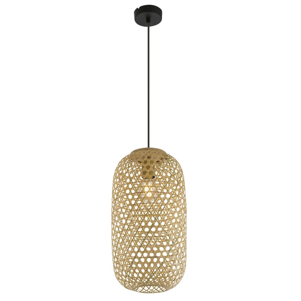 LED landelijke hanglamp bamboe / hout - vooraanzicht lamp aan