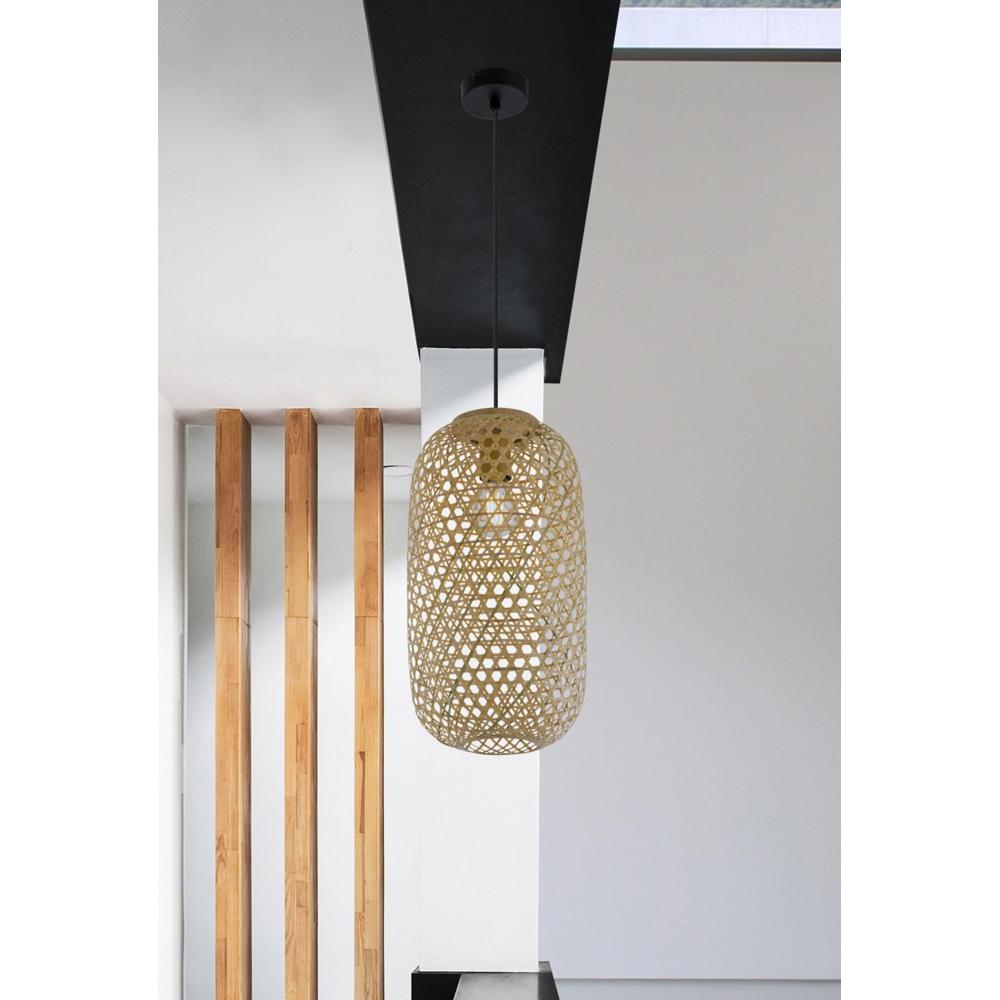 LED landelijke hanglamp bamboe / hout - sfeerfoto