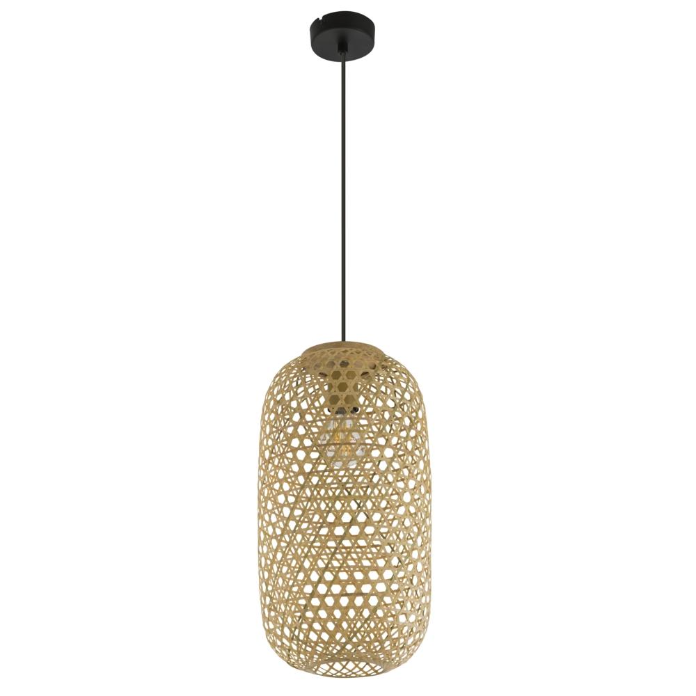LED landelijke hanglamp bamboe / hout - vooraanzicht lamp uit