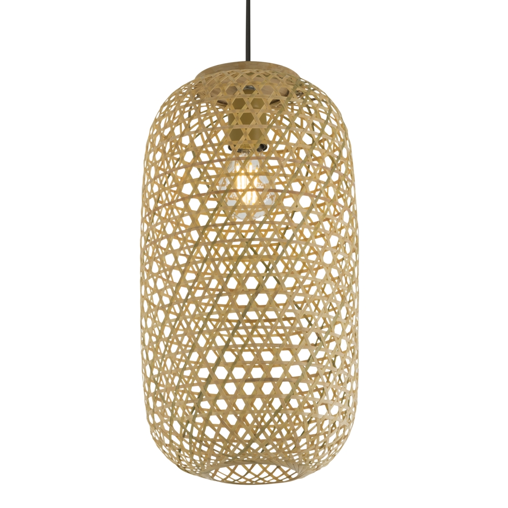 LED landelijke hanglamp bamboe / hout - lampenkap