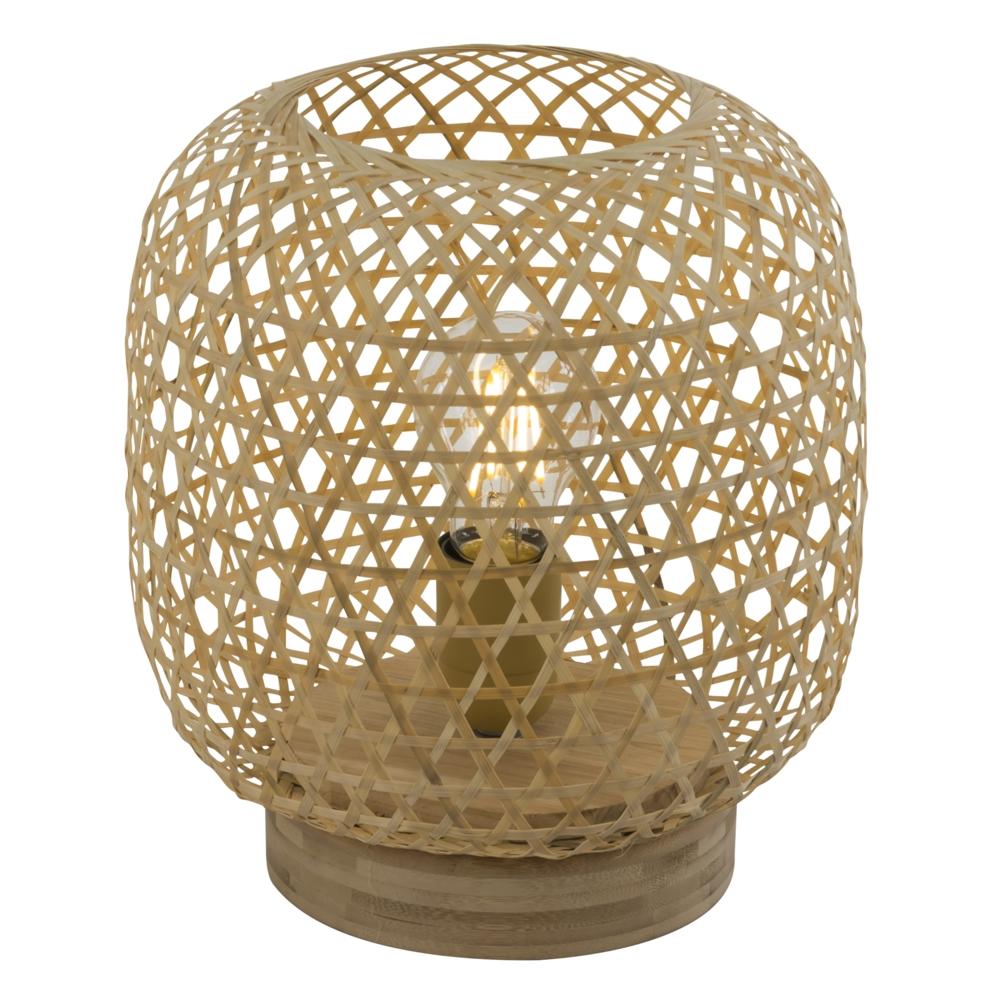 LED landelijke tafellamp bamboe - E25 fitting - vooraanzicht lamp aan