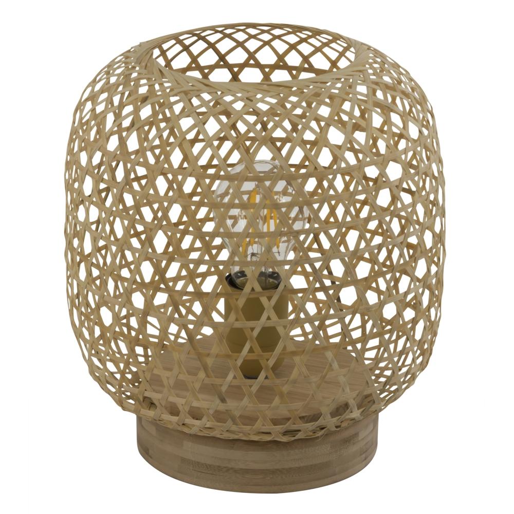 LED landelijke tafellamp bamboe - E25 fitting - vooraanzicht lamp uit