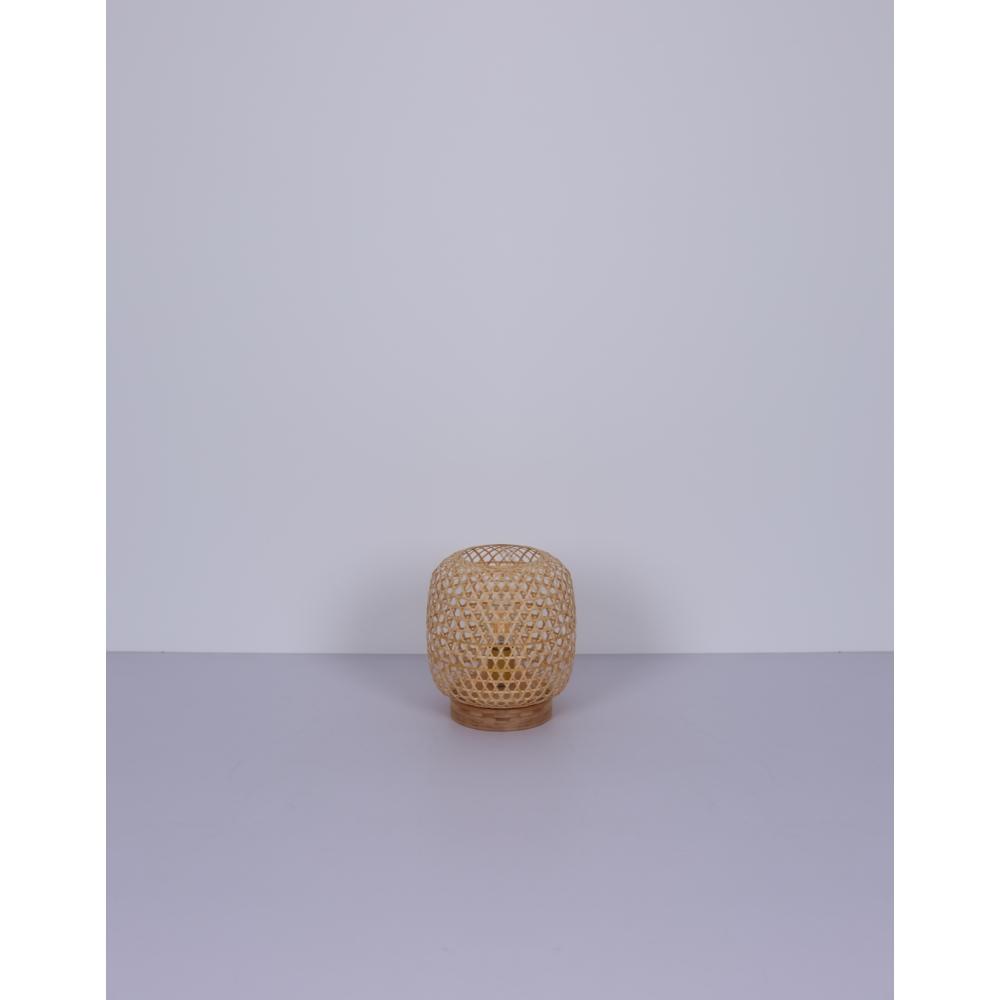 LED landelijke tafellamp bamboe - E25 fitting - sfeerfoto lamp uit