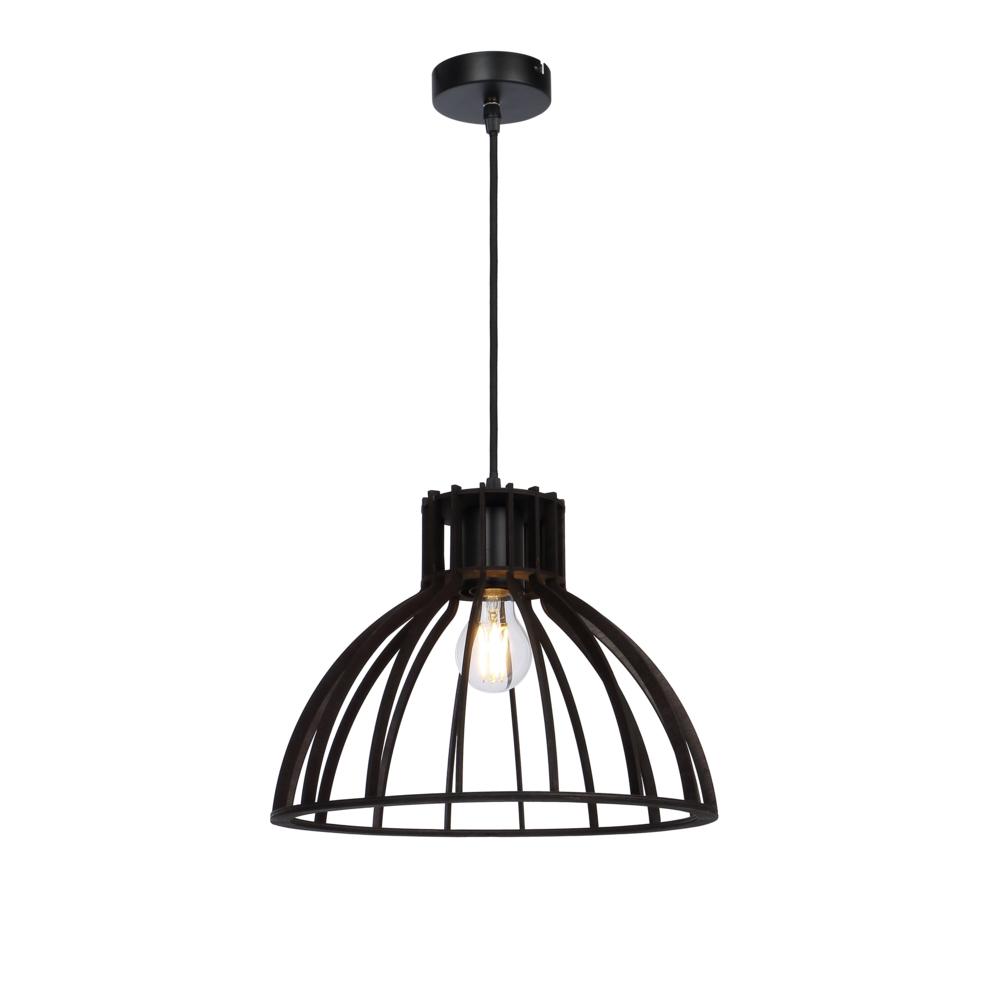 LED industriële hanglamp zwart metaal - vooraanzicht lamp aan