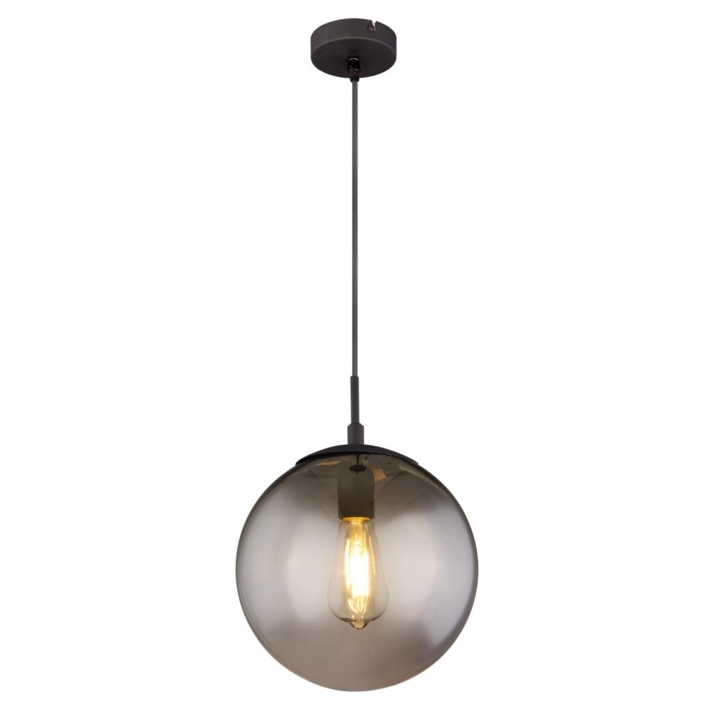 LED hanglamp smoke glas E27 fitting - vooraanzicht lamp aan