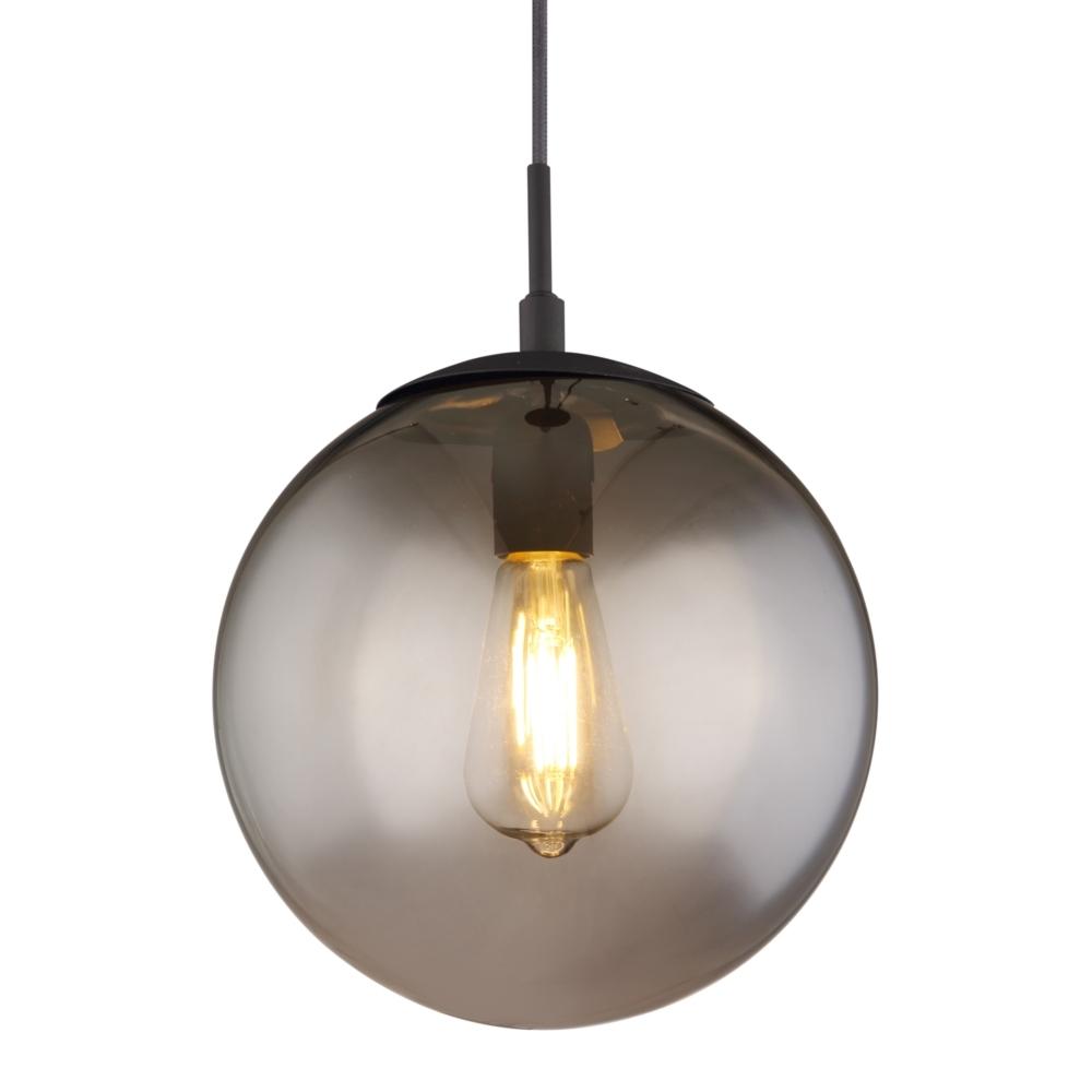 LED hanglamp smoke glas E27 fitting - lampenkap lamp aan