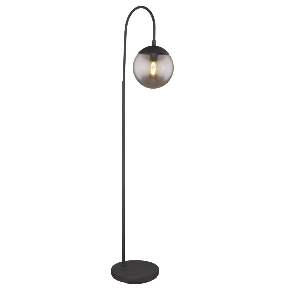 Led Staande lamp - vloerlamp - smoked glass E27 fitting - vooraanzicht lamp aan
