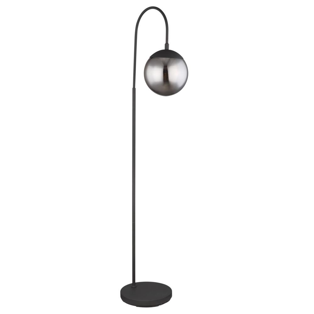 Led Staande lamp - vloerlamp - smoked glass E27 fitting - vooraanzicht lamp uit