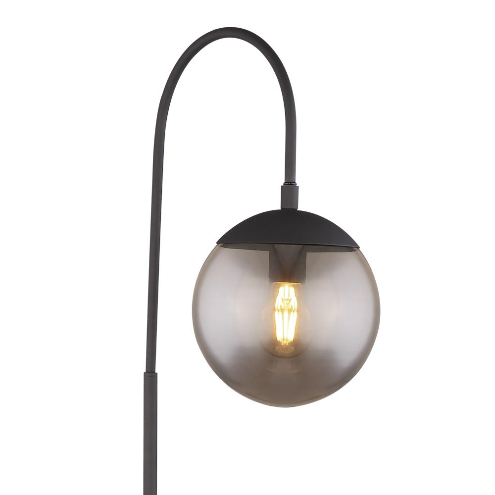 Led Staande lamp - vloerlamp - smoked glass E27 fitting - closeup