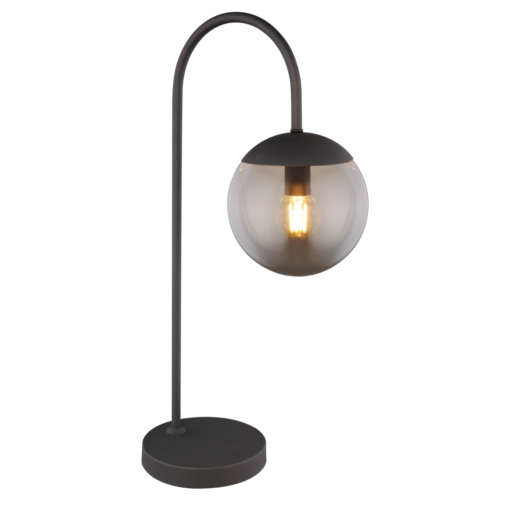 Moderne lamp - tafellamp - gerookt glas - E27 fitting - vooraanzicht lamp aan