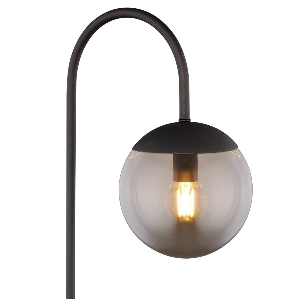 Moderne lamp - tafellamp - gerookt glas - E27 fitting - lampenkap lamp aan