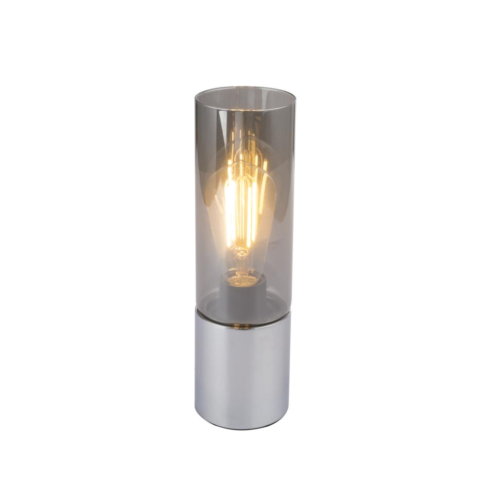 LED tafellamp chroom glas - modern - vooraanzicht lamp aan