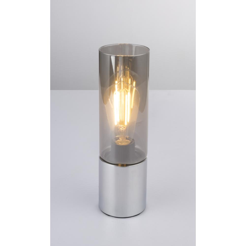 LED tafellamp chroom glas - modern - vooraanzicht lamp aan sfeerfoto