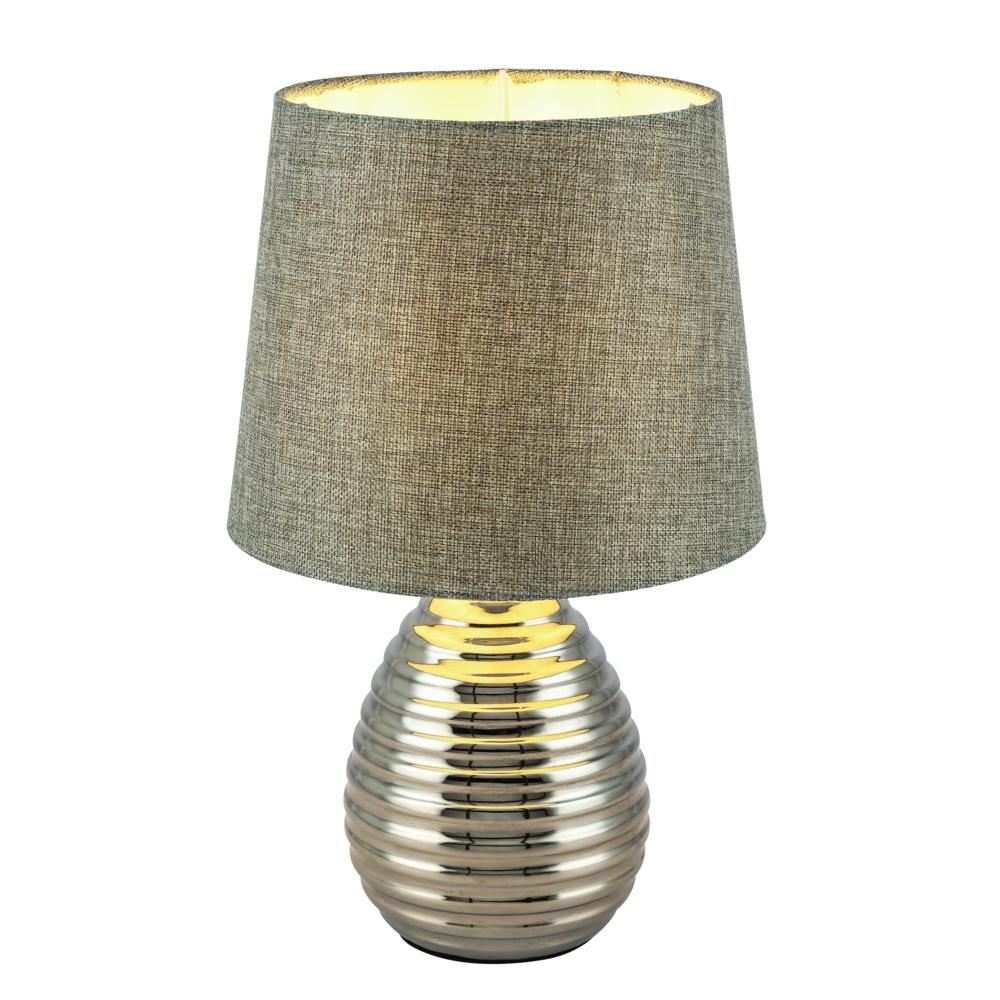 LED tafellamp grijze lampenkap chroom E27 fitting - vooraanzicht lamp aan
