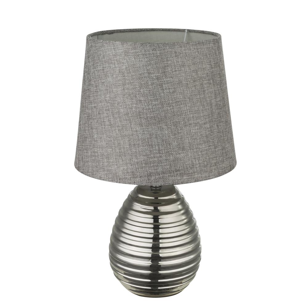 LED tafellamp grijze lampenkap chroom E27 fitting - vooraanzicht lamp uit