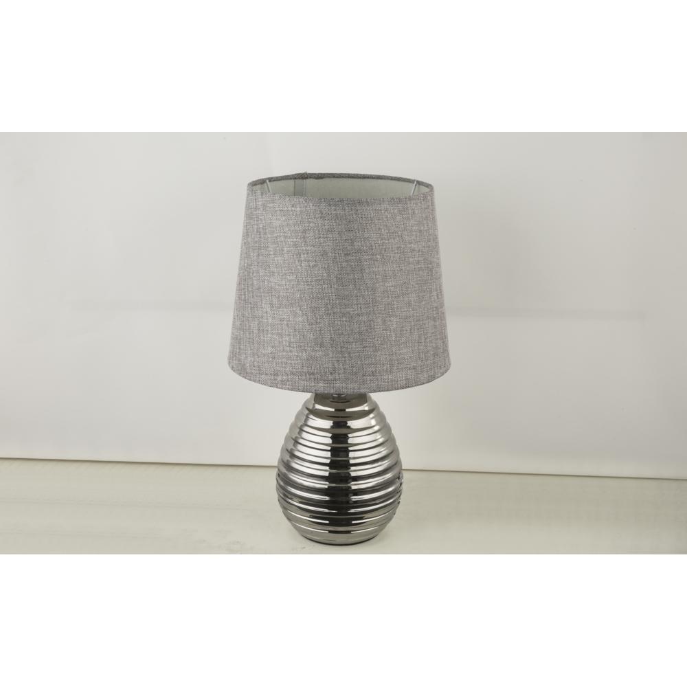 LED tafellamp grijze lampenkap chroom E27 fitting - lamp uit