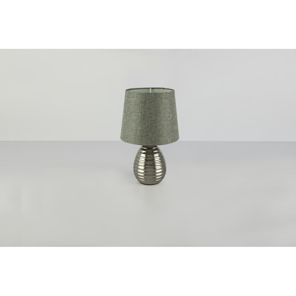 LED tafellamp grijze lampenkap chroom E27 fitting - grijze achtergrond