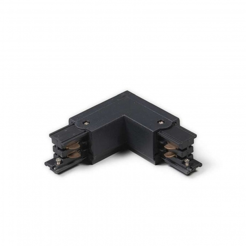 L-vorm connector zwart voor 3-fase rails