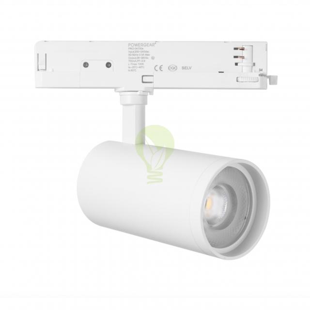 3-fase rail spot wit 40 watt torino - zijkant