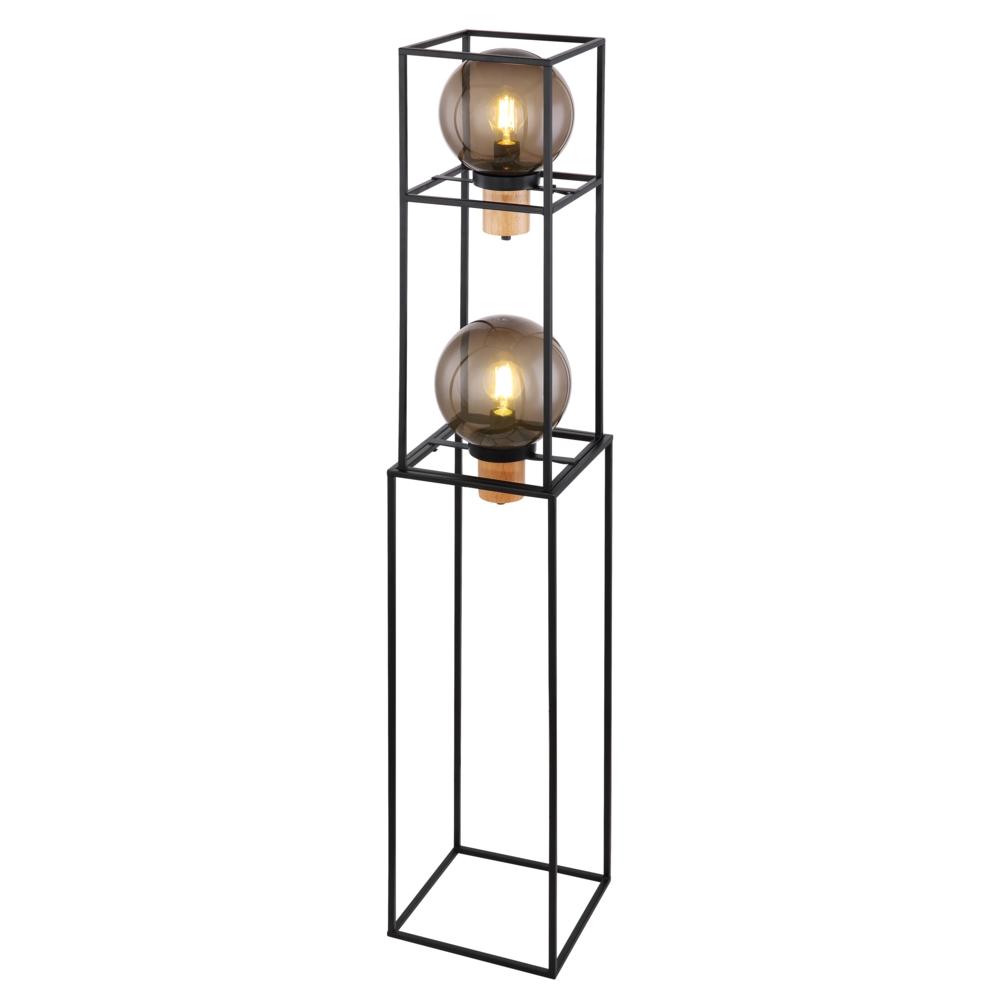 LED vloerlamp smoked glass 2 x E27 fitting - zijaanzicht