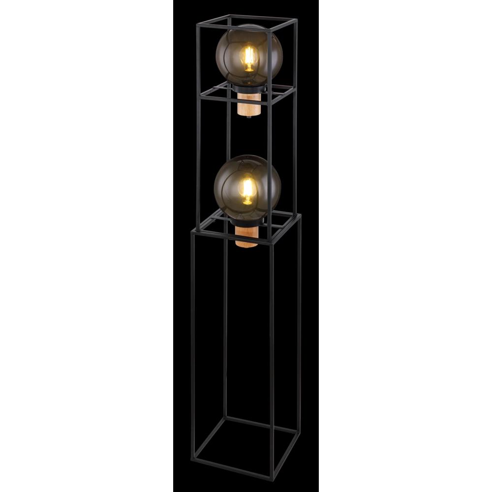 LED vloerlamp smoked glass 2 x E27 fitting - zwarte achtergrond