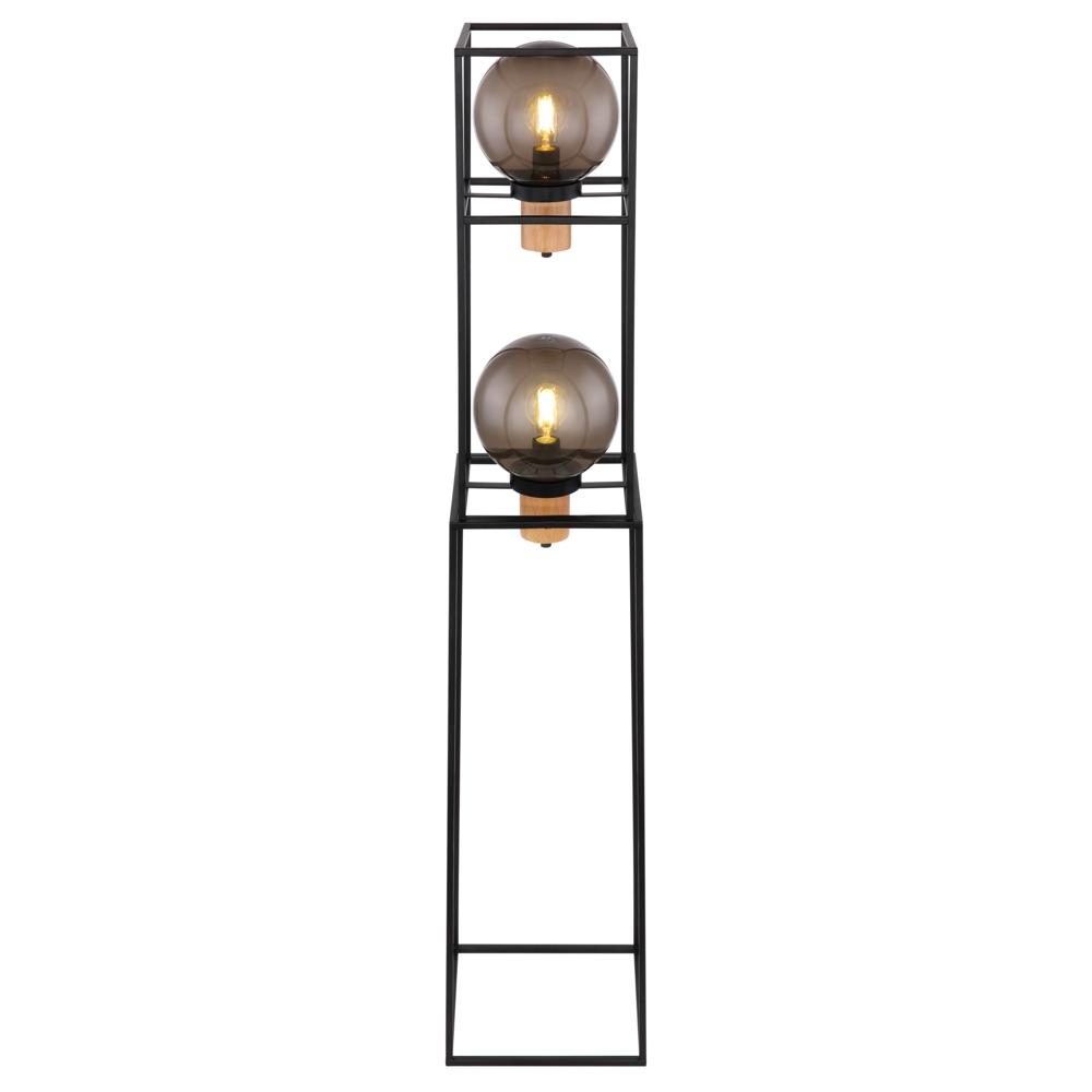 LED vloerlamp smoked glass 2 x E27 fitting - vooraanzicht lampen aan
