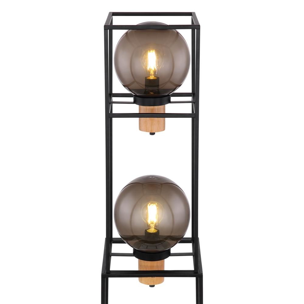 LED vloerlamp smoked glass 2 x E27 fitting - closeup bollen