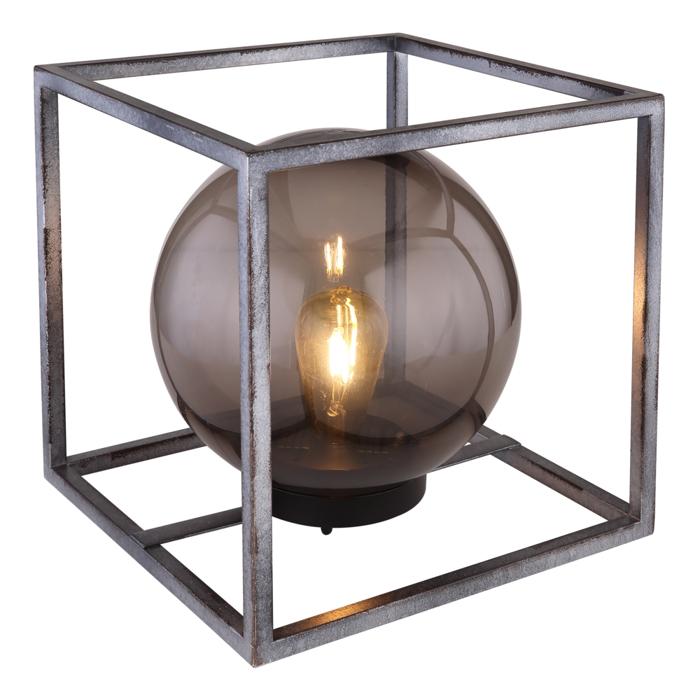 LED Tafellamp - vierkant met smoked glas - bol vorm - metaal - Industrieel