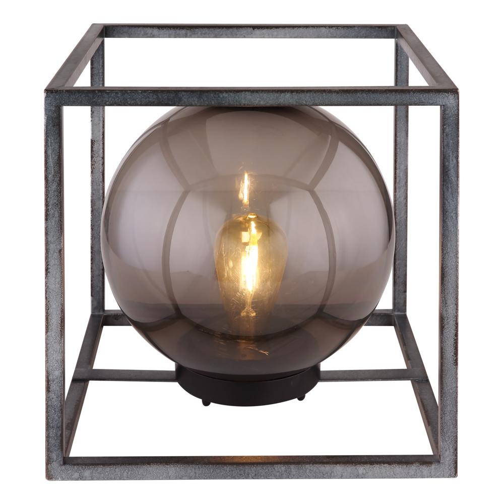 LED Tafellamp - vierkant met smoked glas - bol vorm - metaal - Industrieel - vooraanzicht