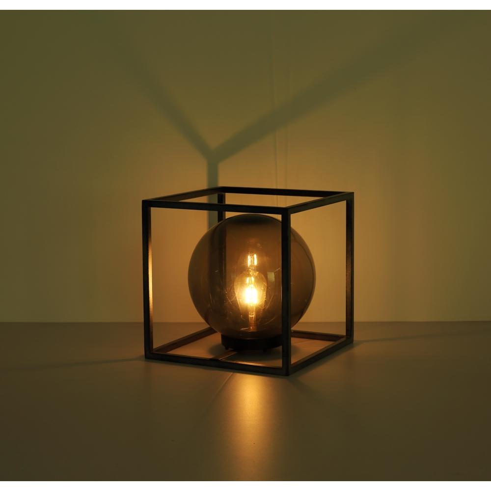 LED Tafellamp - vierkant met smoked glas - bol vorm - metaal - Industrieel - solar