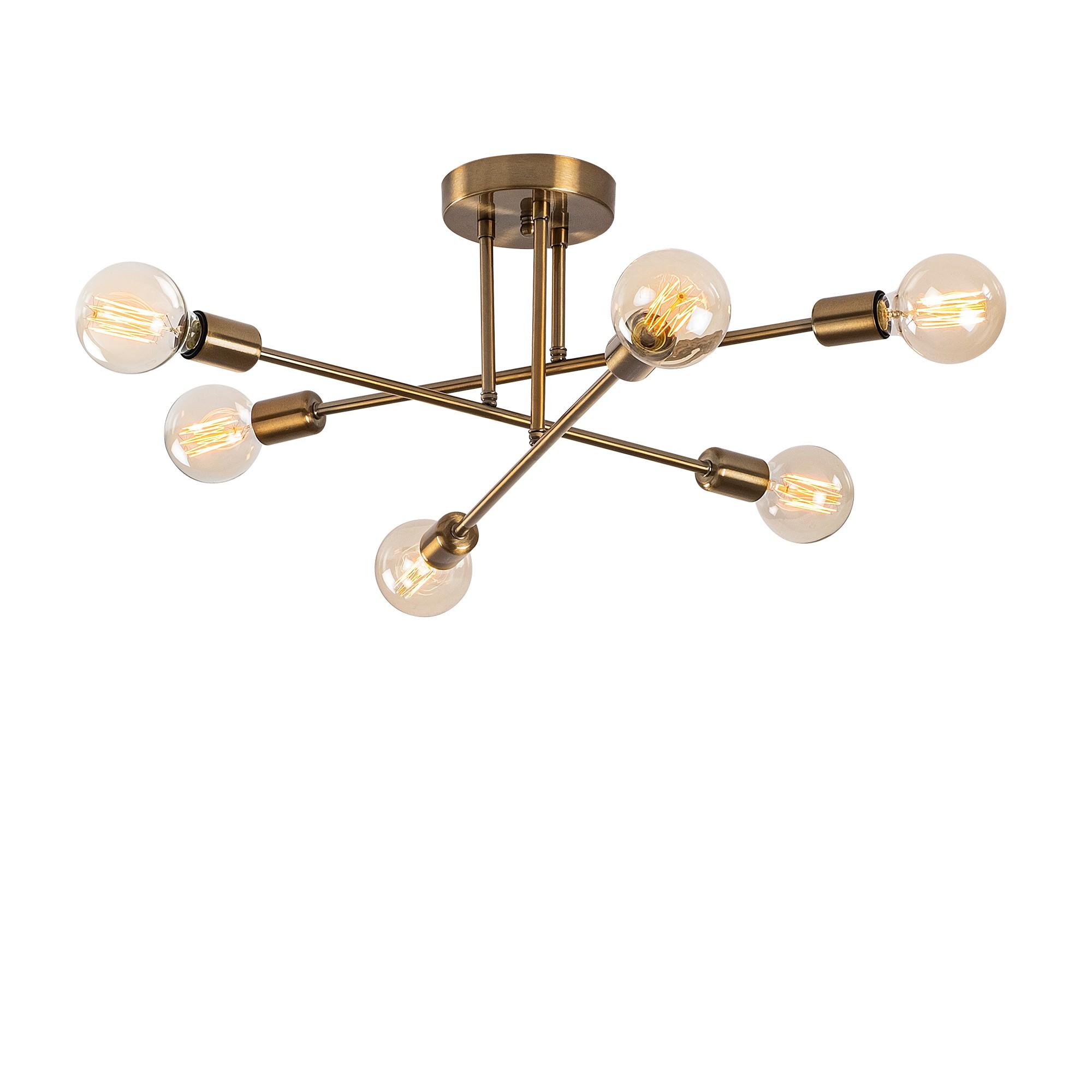 LED Plafondlamp met messing - 6x E27 fitting - dimbaar - vooraanzicht