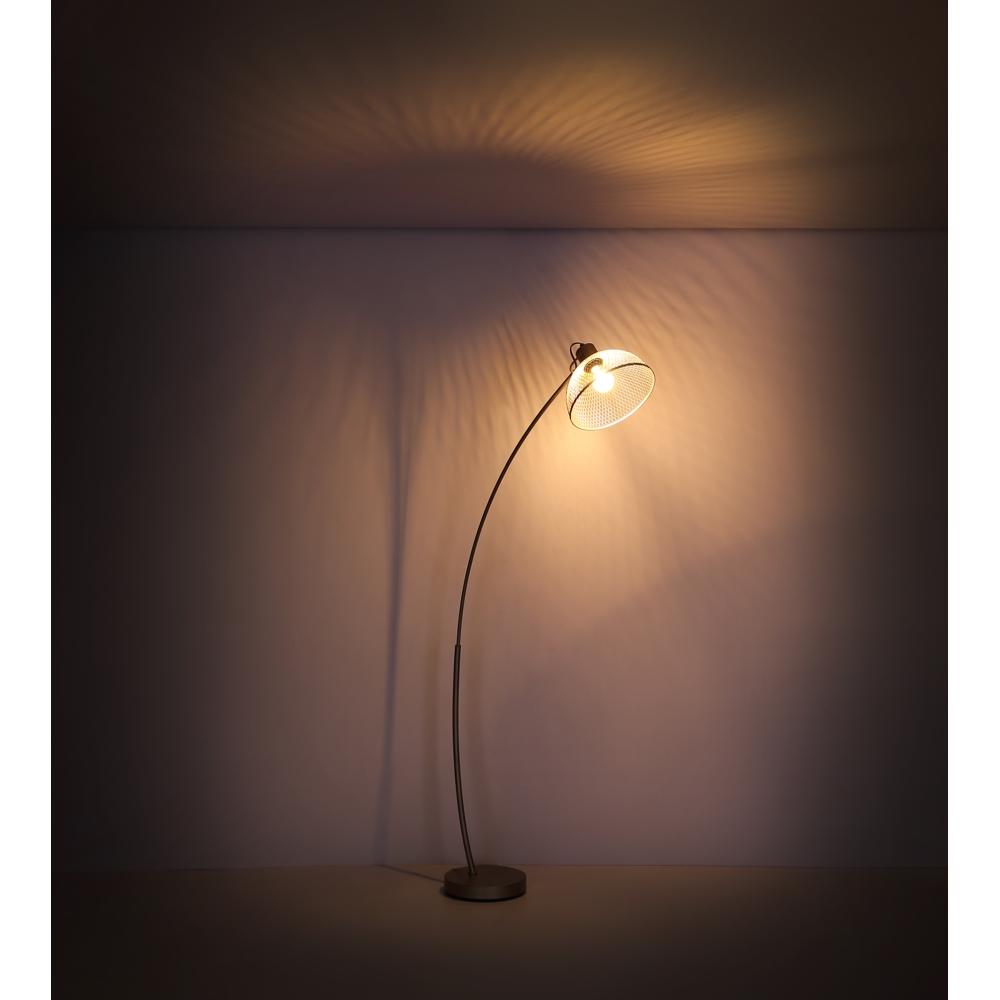 Led moderne vloerlamp E27 fitting chroom - donkere achtergrond lamp aan