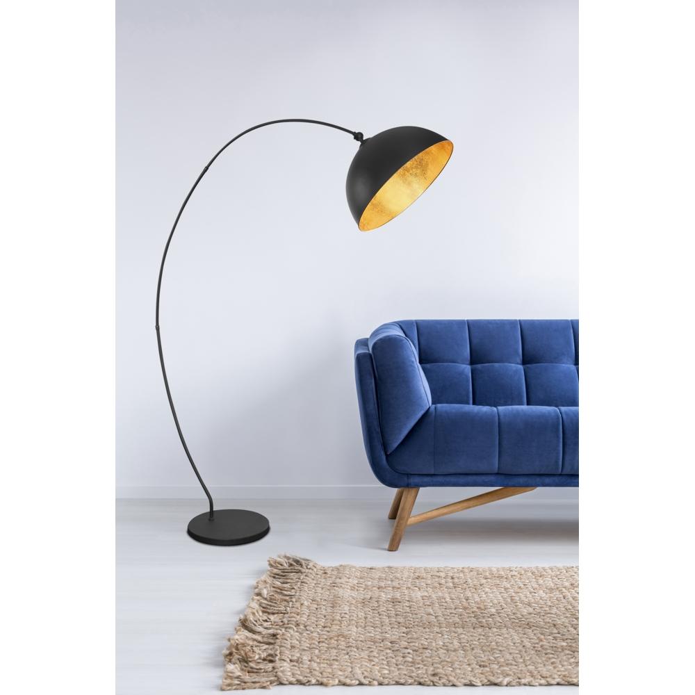 Vloerlamp staande lamp zwart met goud 1 x E27 fitting - inrichting