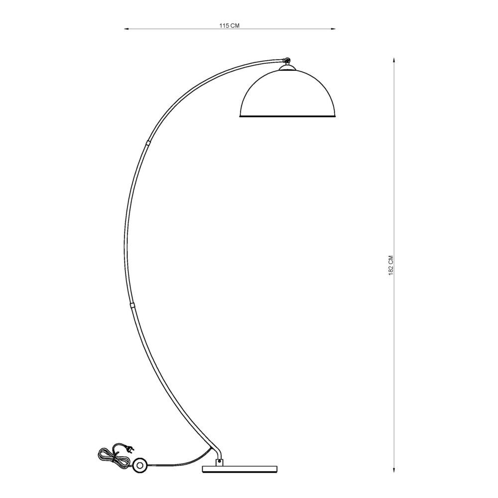 Vloerlamp staande lamp zwart met goud 1 x E27 fitting - afmetingen