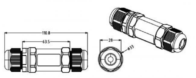 afmetingen waterdichte connector 5 aders