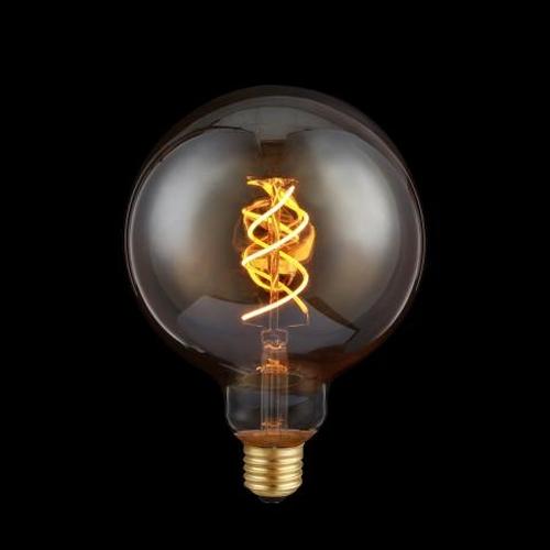 LED Filament Globe lamp dimbaar 5 Watt G125 2200K Extra warm wit - lamp aan donkere achtergrond