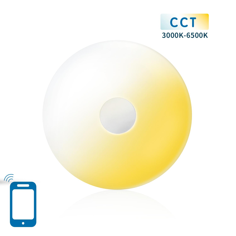 Dimbare LED Slimme plafondlamp - Rond - wit - CCT kleuren instelbaar - 3000K - 6500K